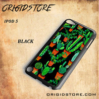 Cactus Black Pattern For Ipod 5 Case - Gift Present Multiple Choice