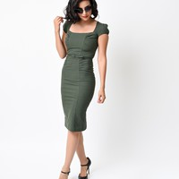 Stop Staring! 1940s Style Olive Houndstooth Verdant Cap Sleeve Wiggle Dress
