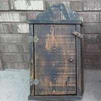 Primitive Wooden Spice Cabinet Painted Cubby Wall Hanging Distressed
