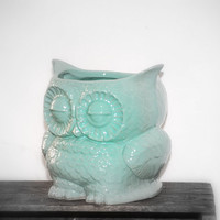 mint owl planter  large  vintage style home decor by claylicious