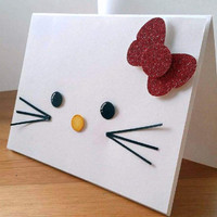 Hello Kitty Sanrio Lego Handmade Greeting Card. Hello Kitty Birthday Card. Hello Kitty Birthday Party.
