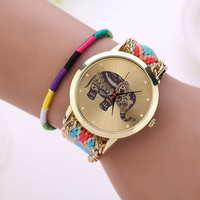 Fashion Women Ethnic Handmade Braided Elephant Pattern Bracelet Dial Quarzt Watches (With Thanksgiving&Christmas Gift Box)= 1956602948