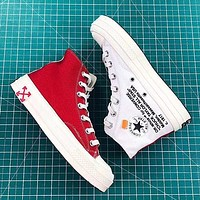 OFF-WHITE x Converse Woman Men Fashion High-Top Flats Shoes