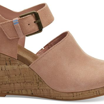 TOMS - Women's Tropex Wedged Coral Pink Suede Sandals