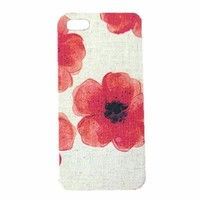 Retro Red Watercolor Flower Handmade Cloth Case For iPhone 4/4s