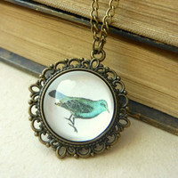Vintage Antique Brass Mint Bird Necklace - Free Shipping - Made to order :)