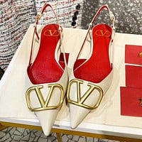 Valentino New Fashion Women Pointed Flat Sandals Shoes