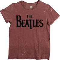 Beatles Men's  Drop T Logo T-shirt Maroon Rockabilia