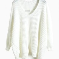White V-Neck Loose Knit Sweater