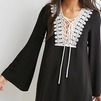 Lace Paneled Lace-up Front Flare Sleeve Black Chiffon Dress