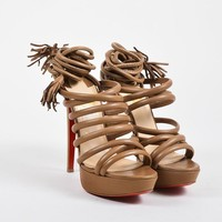 DCCK Christian Louboutin Beige Leather Tube Wrap  Tina 140  Sandals