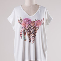 Floral and Leopard Bull Head Top