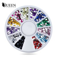Nail Rhinestones Decorations Mix 12colors 1.5mm Glitter Acrylic Flatback Nail Tip Gems Wheel 3d Manicure Tools Nail Art Supplies