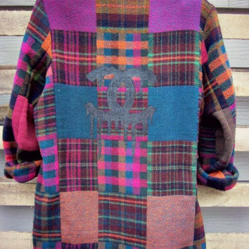 Vintage Upcycled Painted Flannel Patchwork CC Blazer Jacket Coat Dripping Coco CC's Oversized Slouchy Flannel 90s Grunge S M L XL
