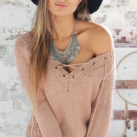 Plain V Neck Tie Long Sleeve Sweater