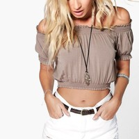Maddie Off Shoulder Frill Bardot Crop