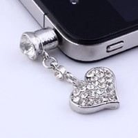 Amazon.com: 1p Clear Crystal Heart Dangle Anti Dust Plug Stopper for Iphone Cell Phone: Cell Phones & Accessories