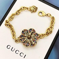 GUCCI Woman Colorful Diamond Hand Catenary Bracelet Accessories Jewelry