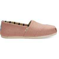 TOMS - Venice Collection Coral Pink Heritage Canvas Women's Classics Slip-Ons