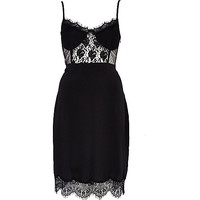 River Island Womens Black lace insert lingerie slip dress