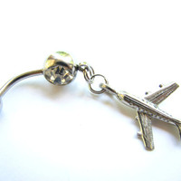 Airplane Belly Button Jewelry,  Silver Jet Bellybutton Ring, Aeroplane Belly Ring