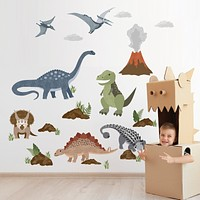 Dinosaur Wall Decals, T Rex Wall Sticker, Dino Decals, Kids decals, Reusable Dinosaur Wall Stickers