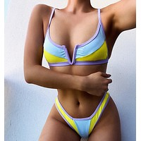 Swimsuit contrast color stitching swimsuit Cyan Yellow V neck contrast macaron color two piece