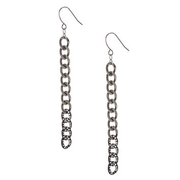 Black and Gray Chain Link Drop Earrings