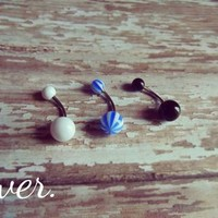 Belly Ring Set - White, Blue, Black from Ever