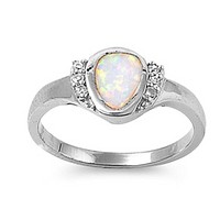 Rounded Pear Shape White Opal Bezel Set Sterling Silver Ring with Cubic Zirconia