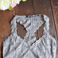 Neutral Racerback Lace Bralette in Grey
