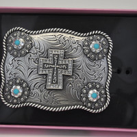 Nocona Rectangular Crystal Cross Turquoise Hue Antique Silver Belt Buckle