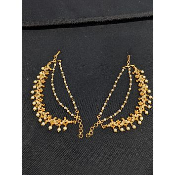 Matte gold plated Flower design CZ stone triple layer earrings chain / Maatal