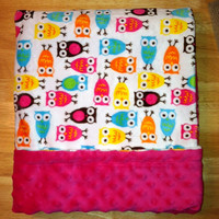 Owl Minky Baby Blanket Crib Size Plush Pink by DesignsByDiBlankets 36 x 45