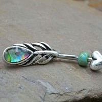 Peacock Feather and Heart Belly Button Ring with Abalone Shell