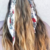 Satin Floral Hair Scarf - Cream