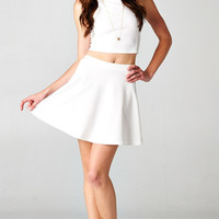 WHITE RACER BACK CROP TOP AND FLARED SKIRT SET
