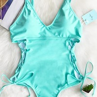Cupshe Marry You Lace Up One-piece Swimsuit