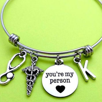 Personalized, Letter, Initial, you're my person, Heart, Bangle, Bracelet, Medical, Bracelet, Grey's anatomy, Bangle, Birthday, Gift