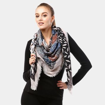 Flower Sketch Print Square Scarf (Click For More Colors)