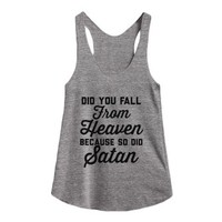 Falling From Heaven-Female Athletic Grey T-Shirt