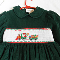 Vintage Girls Dress 7 Smocked Corduroy Christmas Embroidered Santa Claus Clothing Long Gown Gently Used Clothes Photo Props Holiday Sale