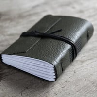 leather journal, leather notebook, travel journal, travel notebook, leather diary, hand bound blank book leaf closure khaki green