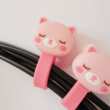 SALE 80-20%OFF: Cute Pink cat Cord holder//cable holder//wire holder // Head phone cable holder