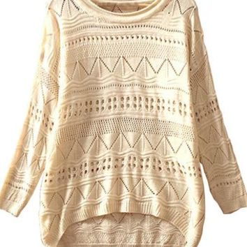 Sheinside Women's White Long Sleeve Turtleneck Chunky Cable Knit Sweater