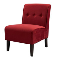 Modern Accent Chair Button Tufted Upholstered Chair Living Room Furniture Red