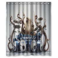 "66"" x 72"" Deep Sea Drummer Shower Curtain"