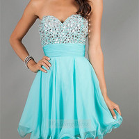 Sequin Belt Short Prom Dresses