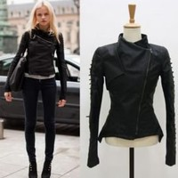 Runway Lace Up Sleeve Biker Jacket Synthetic Leather Co