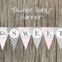 INSTANT DOWNLOAD Baby Shower Banner Printable Sweet Baby Banner Party Decorations Powder Pink Grey Bunting Banner Elephant DIY 006